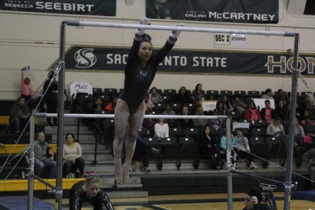 Gymnastics team records season high, wins tri-meet with 195.400 score