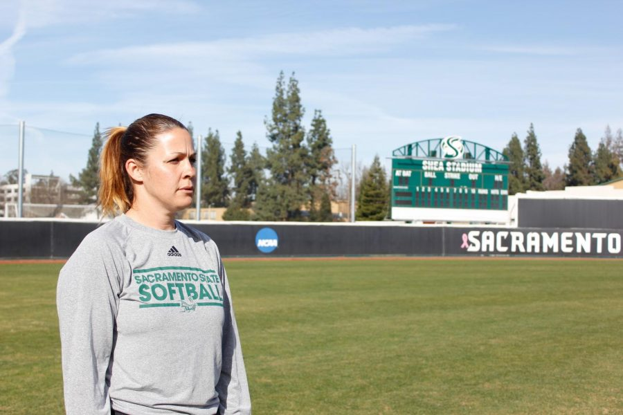 Sacramento+State+softball+coach+Lori+Perez+looks+upon+the+softball+field+before+the+start+of+practice+on+Thursday%2C+Feb.+1+at+Shea+Stadium.+Perez+enters+this+season+in+her+fifth+year+as+head+coach+after+spending+multiple+years+as+a+player+%281999-2002%29+and+assistant+coach+%282005-13%29+at+Sac+State.