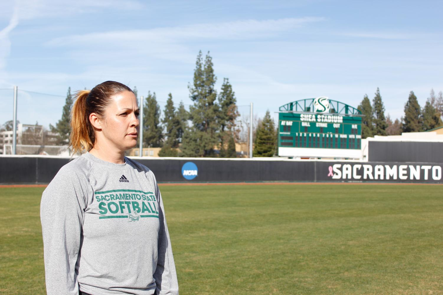 Sacramento State softball coach Lori Perez looks upon the softball field before the start of practice on Thursday, Feb. 1 at Shea Stadium. Perez enters this season in her fifth year as head coach after spending multiple years as a player (1999-2002) and assistant coach (2005-13) at Sac State.