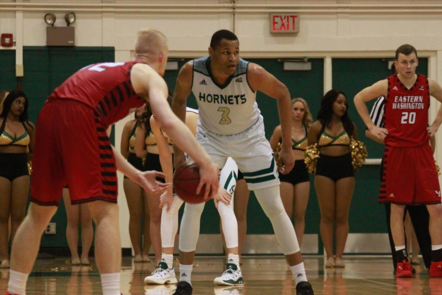 Sacramento State senior forward Justin Strings, middle, prepares to defend Eastern Washington senior guard Bogdan Bliznyuk, left, in the second half of a 74-54 loss Thursday, Feb. 1 at the Nest. Strings finished the game with 16 points, while Bliznyuk posted a season-high 40 points on 15-of-18 shooting from the field.