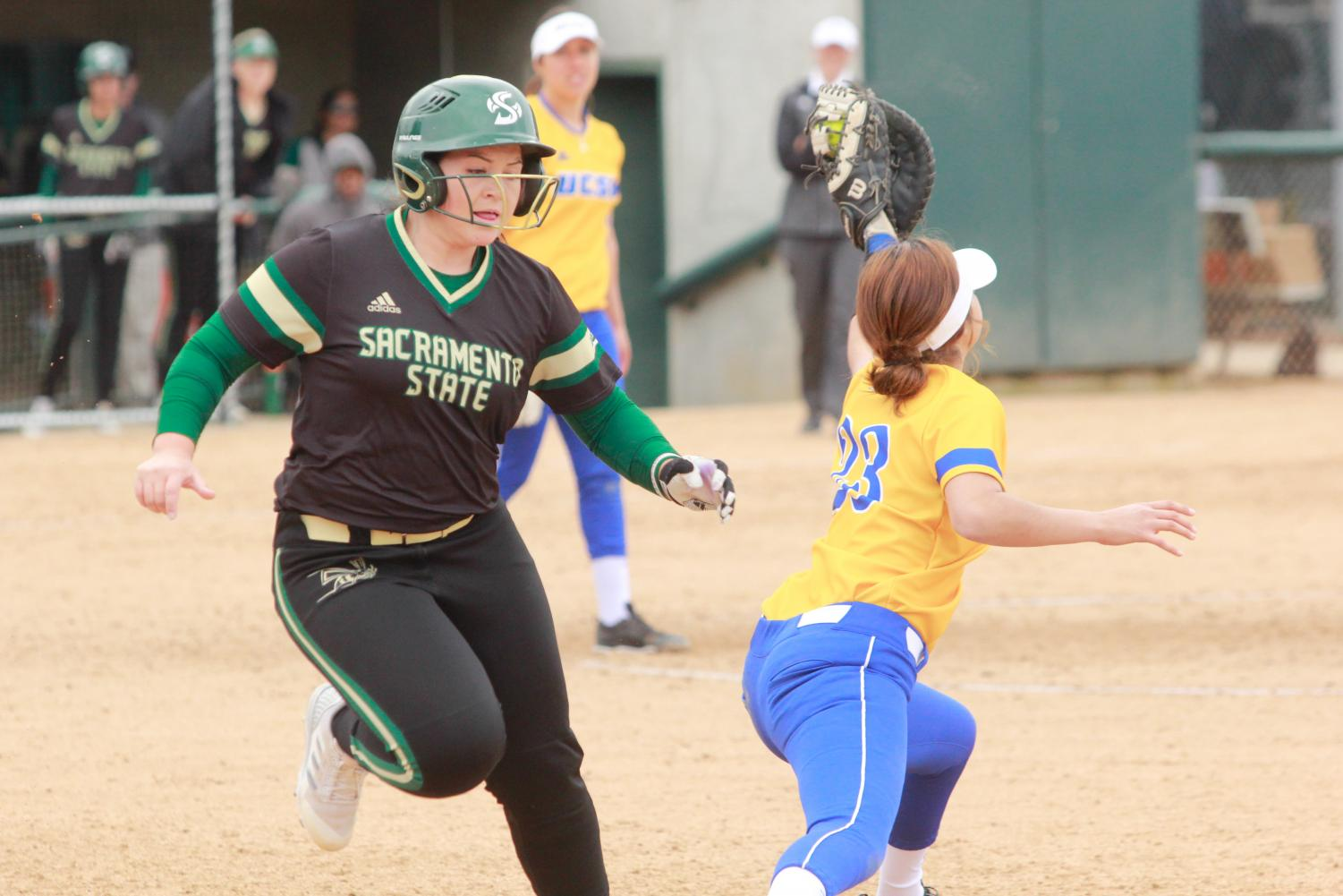 Sacramento State sophomore catcher Jessica Scott is thrown out at first base on a double play against UC Santa Barbara Saturday, Feb 10 at Shea Stadium. The Hornets lost to the Gauchos 8-4.