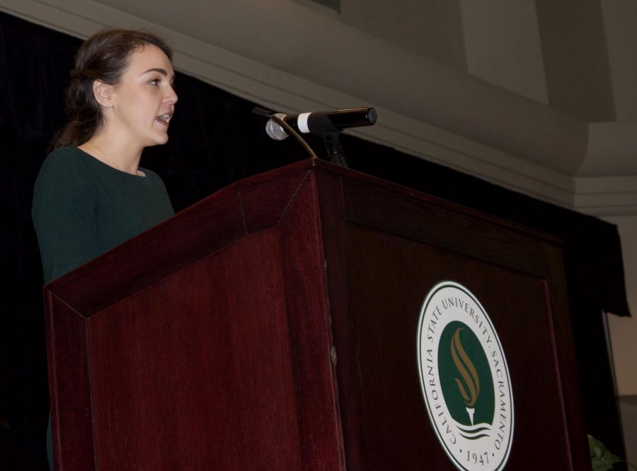 ASI President Mia Kagianas delivers an address on Jan. 18 in the University Union. Kagianas wants to get more students involved in efforts to stop a potential tuition increase.