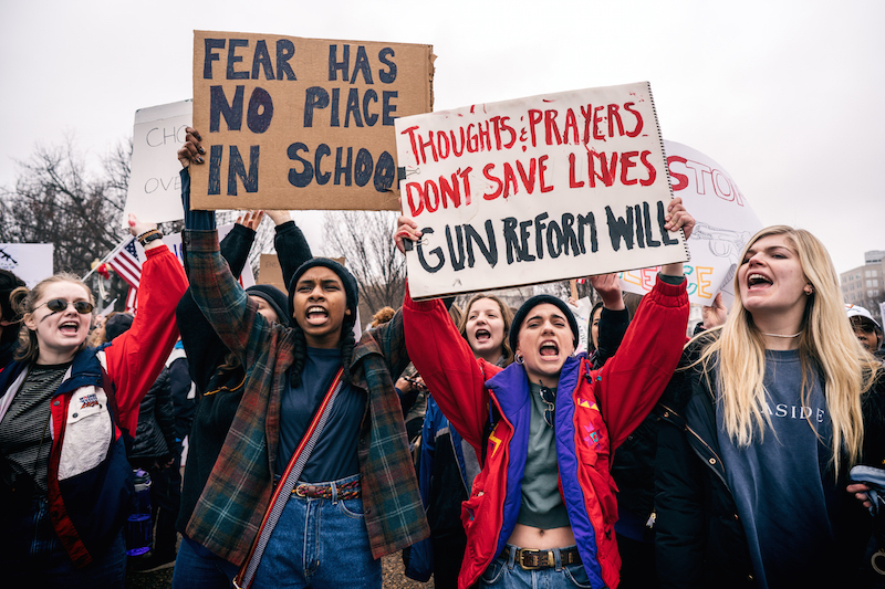 Students+participate+in+a+February+demonstration+in+Washington+in+the+wake+of+the+school+shooting+in+Florida.+Members+of+the+Sacramento+State+community+will+be+participating+in+anti-gun+rallies+later+this+month.