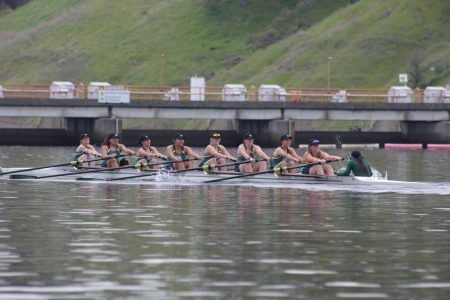 The Sacramento State rowing novice-eight team competes in first race of the season at the Sacramento State Invitational at Lake Natoma on Sat., March 10, 2018. They took first place against the six other boats competing.