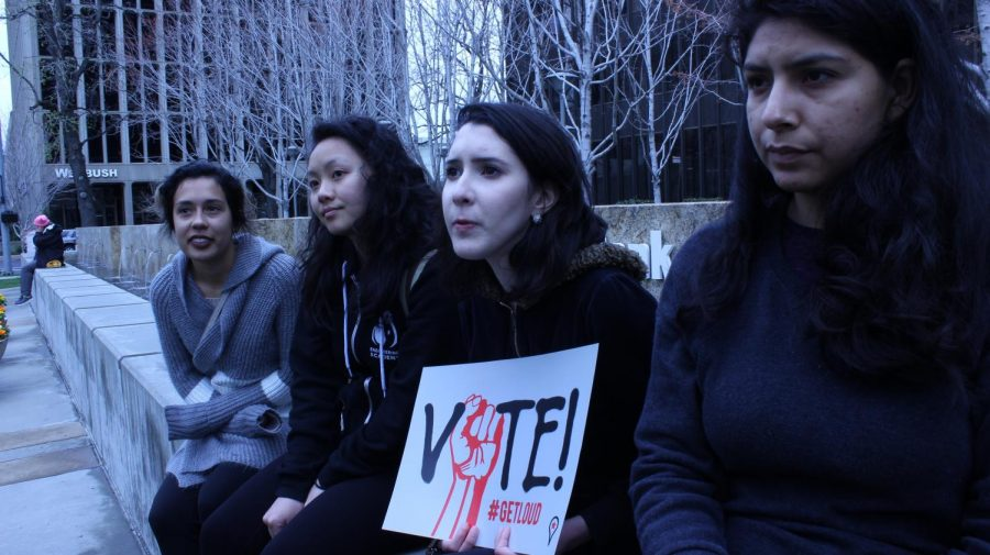 From left to right, Sac State social work students Catlyn Dominguez, Sandra Vang, Gracie Rabamad and Jaenette Cervantez turned out in solidarity for the #Enough rally on Capitol Mall on Wednesday, March 14, 2018. All four women intern at the Wellspring Women's Center and support stricter gun control across the nation.