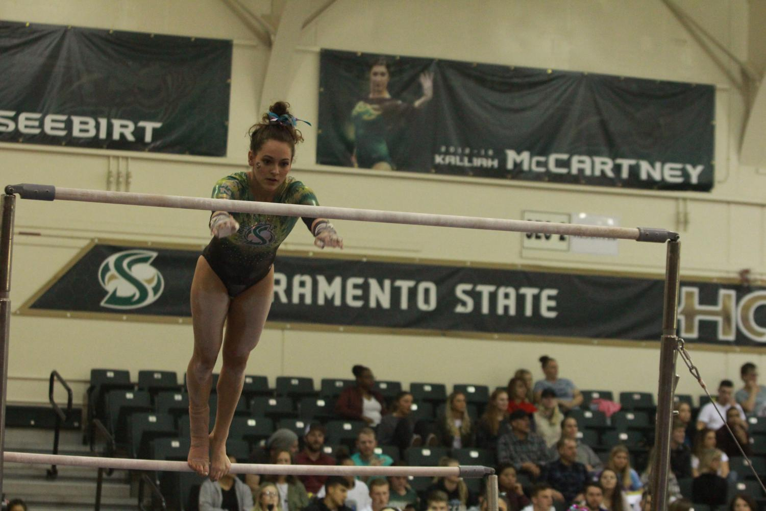 Sacramento State senior gymnast Annie Juarez competes on the uneven bars at the Nest on Friday, March 9, 2018. Juarez was one of four Hornets to qualify for an NCAA Regional.
