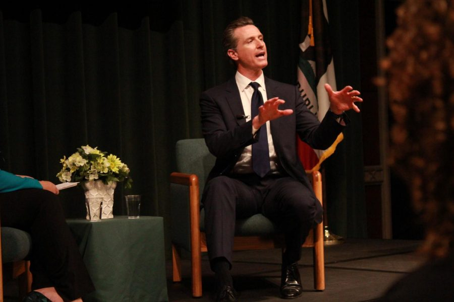 California+Lt.+Gov.+Gavin+Newsom+speaking+during+a+forum+hosted+by+the+Campaign+for+College+Opportunity+as+he+runs+for+governor+of+California.+Newsom+spoke+about+a+range+of+topics+including+transfer+students%2C+tuition+and+childcare.+