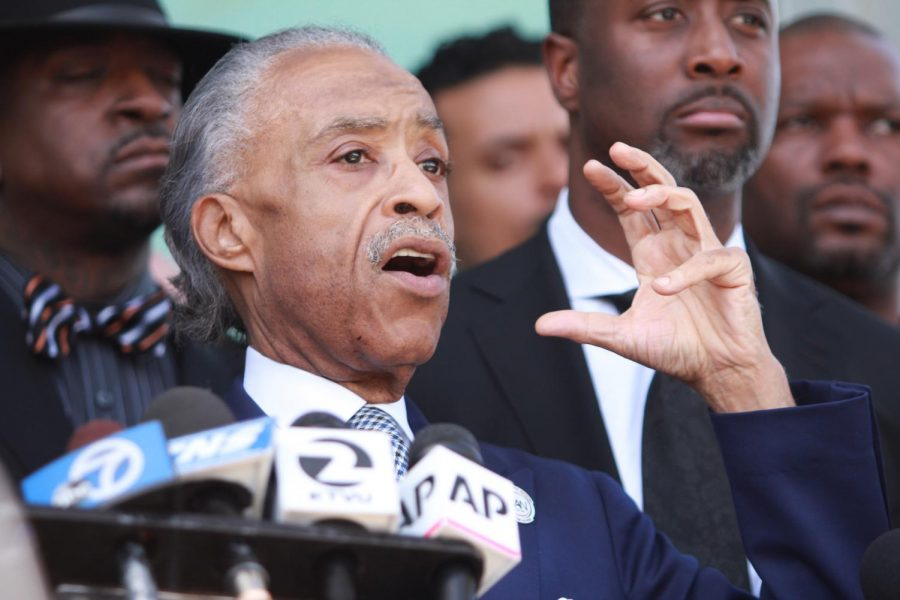 Rev. Al Sharpton addresses the media on Thursday, March 29 after giving the eulogy at the funeral service of Stephon Clark, who was shot and killed by Sacramento police on March 18.