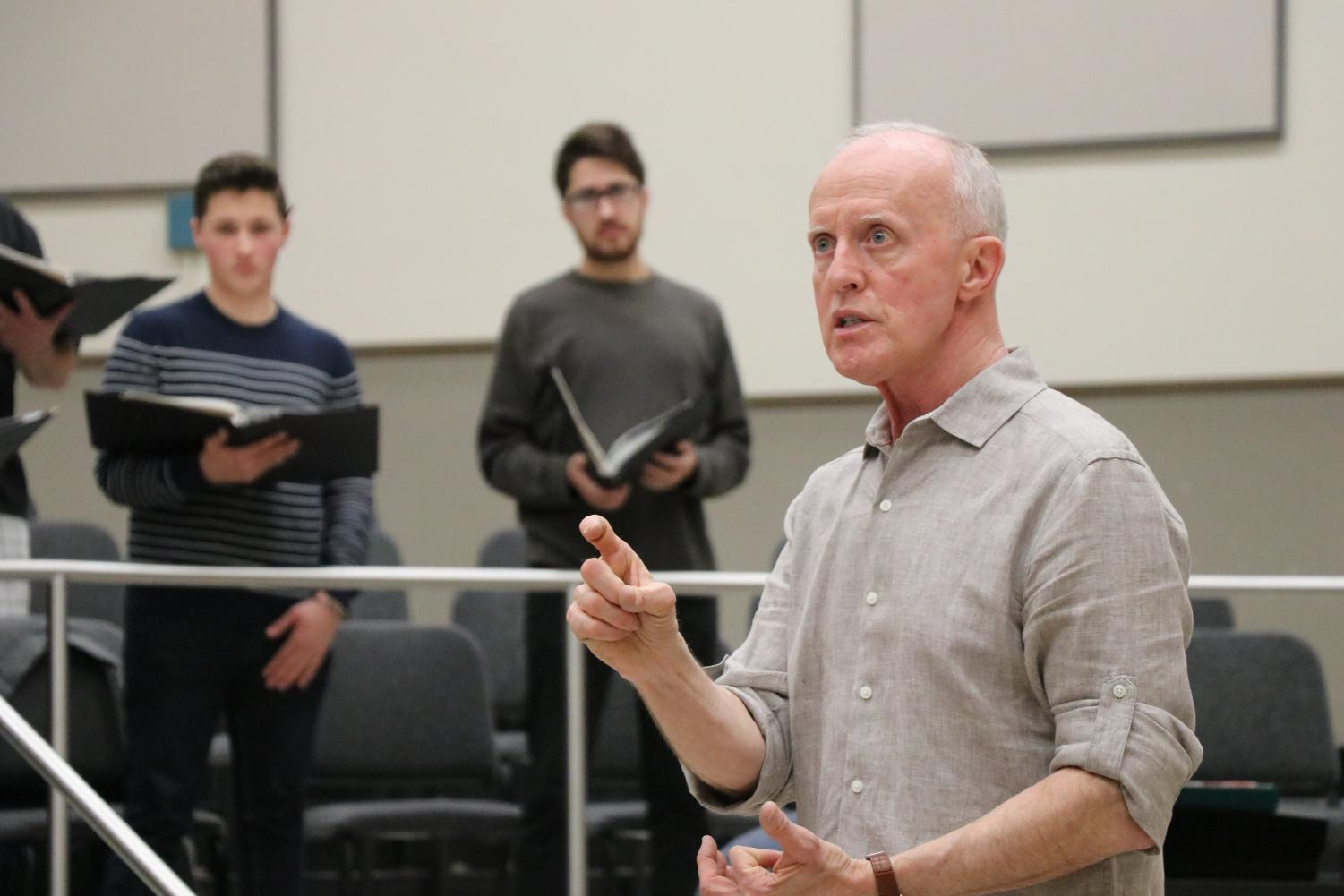 Donald Kendrick, the director of choral activities at Sacramento State, rehearses with the University Choir in preparation for his final concert with the University. The concert will be on Saturday, May 12 at 8 p.m. at the Sacramento Community Center Theater.