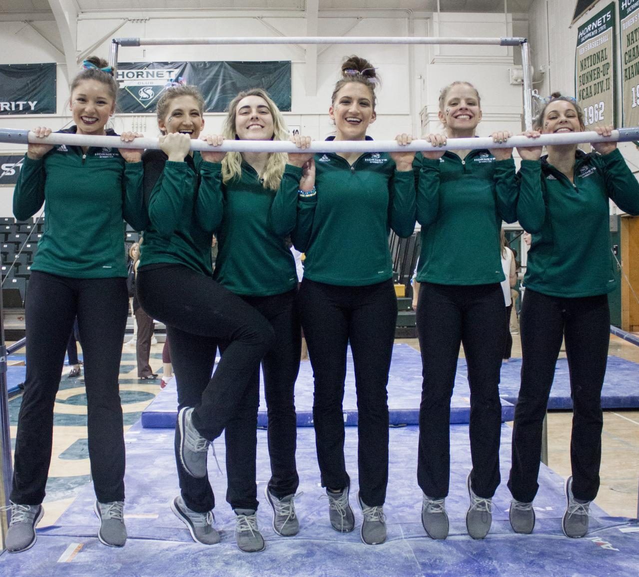 From left to right, Sacramento State senior gymnasts Courteney Ng, Caitlin Soliwoda, Lauren Rice, Courtney Soliwoda, Jennifer Brenner and Annie Juarez will be honored for their contributions to the gymnastics team during senior night at the Nest on Friday, March 16, 2018.