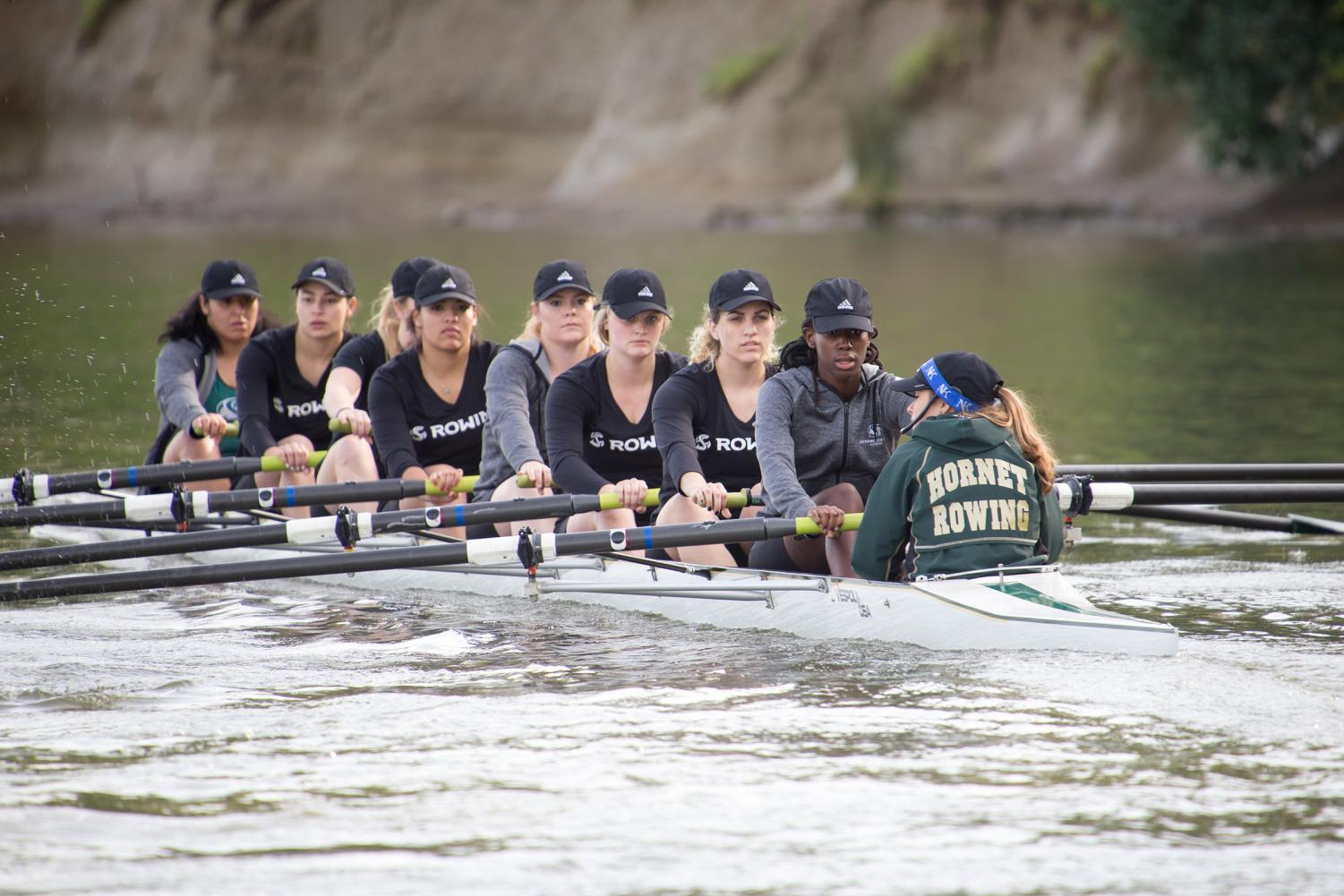 The Sacramento State rowing team competes in the Sacramento State Invitational at Lake Natoma on March 12, 2016. The Hornets will open the 2018 season on Saturday in the Sacramento State Invitational at Lake Natoma.