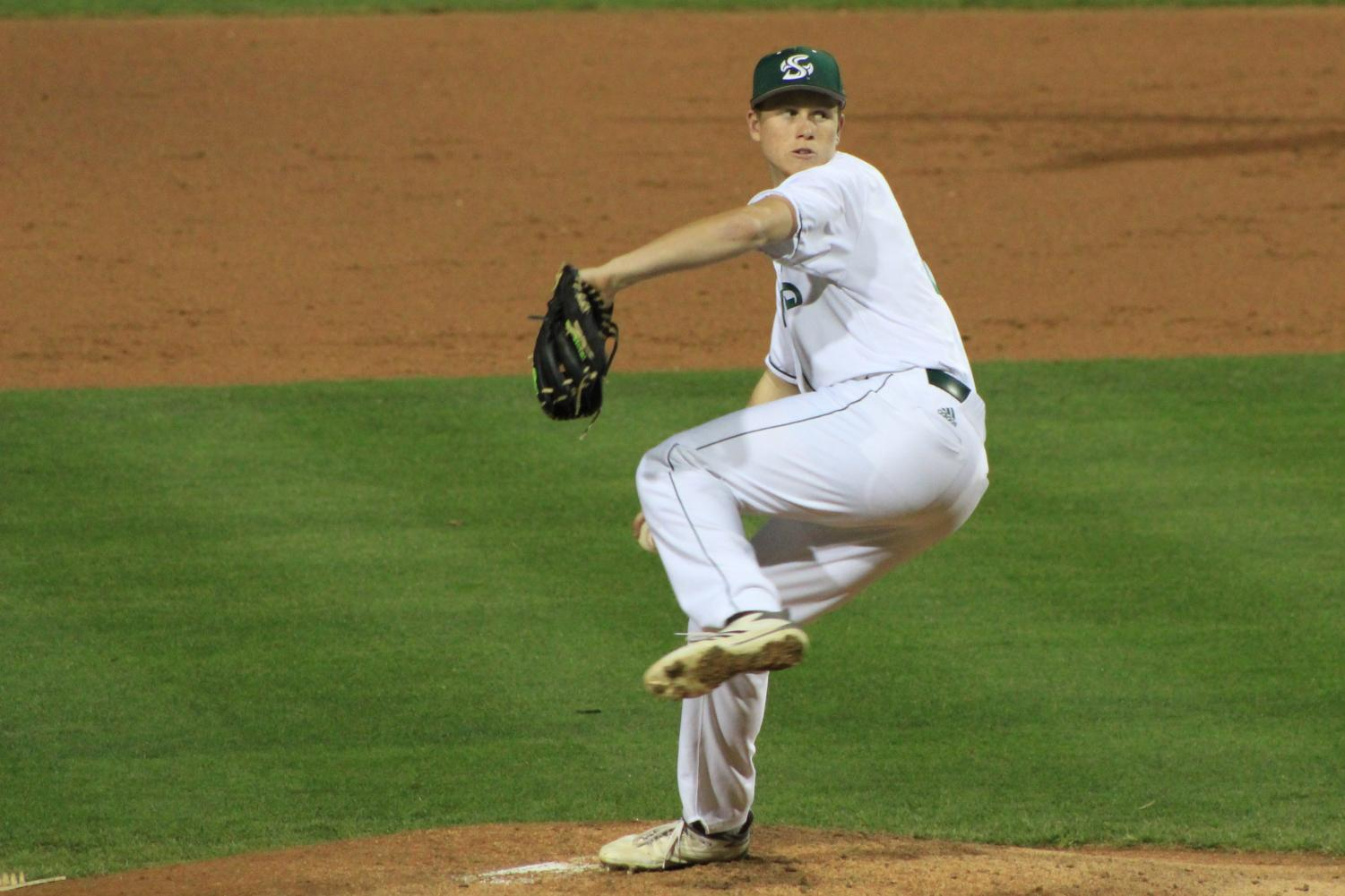 Sacramento State right-handed sophomore pitcher Parker Brahms prepares to deliver the baseball to the strike zone against Santa Clara University at John Smith Field on Sat., March 10, 2018. Brahms, who was named to the Western Athletic Conference first team last season, earned WAC Pitcher of the Week honors on March 5.