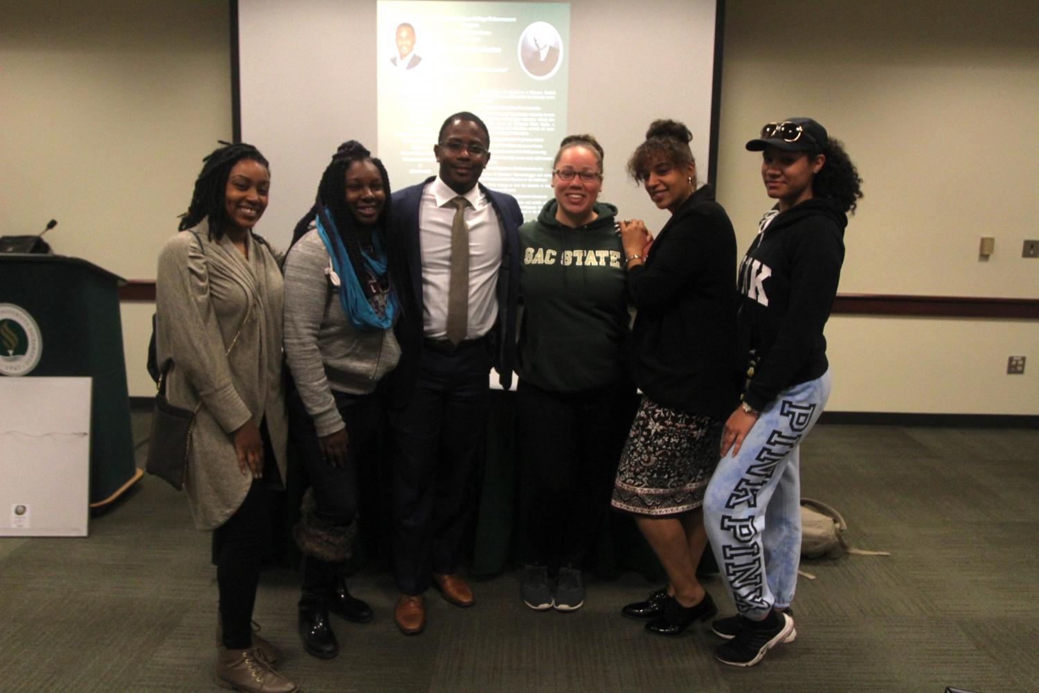 From left to right, Christina Bourn, Sabrina Harrell, Micah Grant, Ashley Robertson, Andrea Moore and Brittney LeBlue pose for a picture after the Cooper G. Woodson lecture on Feb., 20, 2018. The Cooper-Woodson Scholars are required by the program to attend both the Woodson lecture as well as the Anna J. Cooper lecture every year.