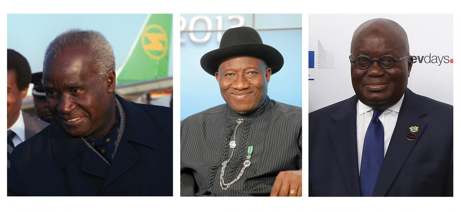 From left, fromer Zambian President Kenneth Kaunda, former Nigerian President Goodluck Jonathan and current Ghanian President Nana Akufo-Addo have all been invited to give keynote speeches at the Africa Peace Awards annually held at Sacramento State and organized by the University's Center for African Peace and Conflict Resolution.