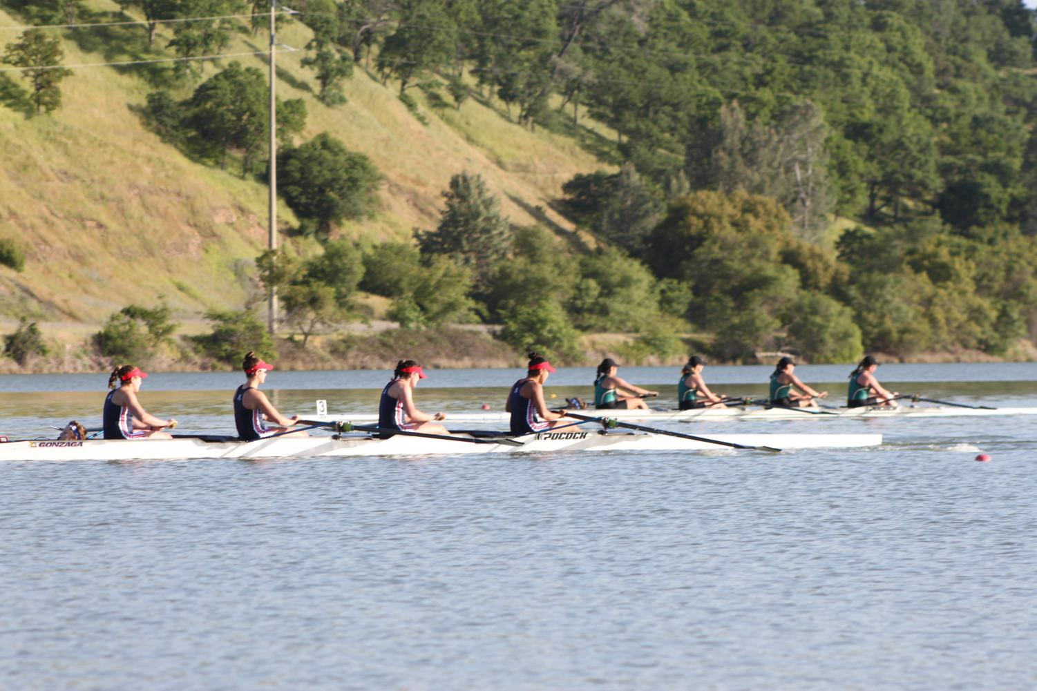Sacramento State rowing varsity-four team, right, races against Gonzaga, left, Alabama and the University of San Diego during the Lake Natoma Invitational on Sunday, April 15, 2018. Sac State finished third in event 20.