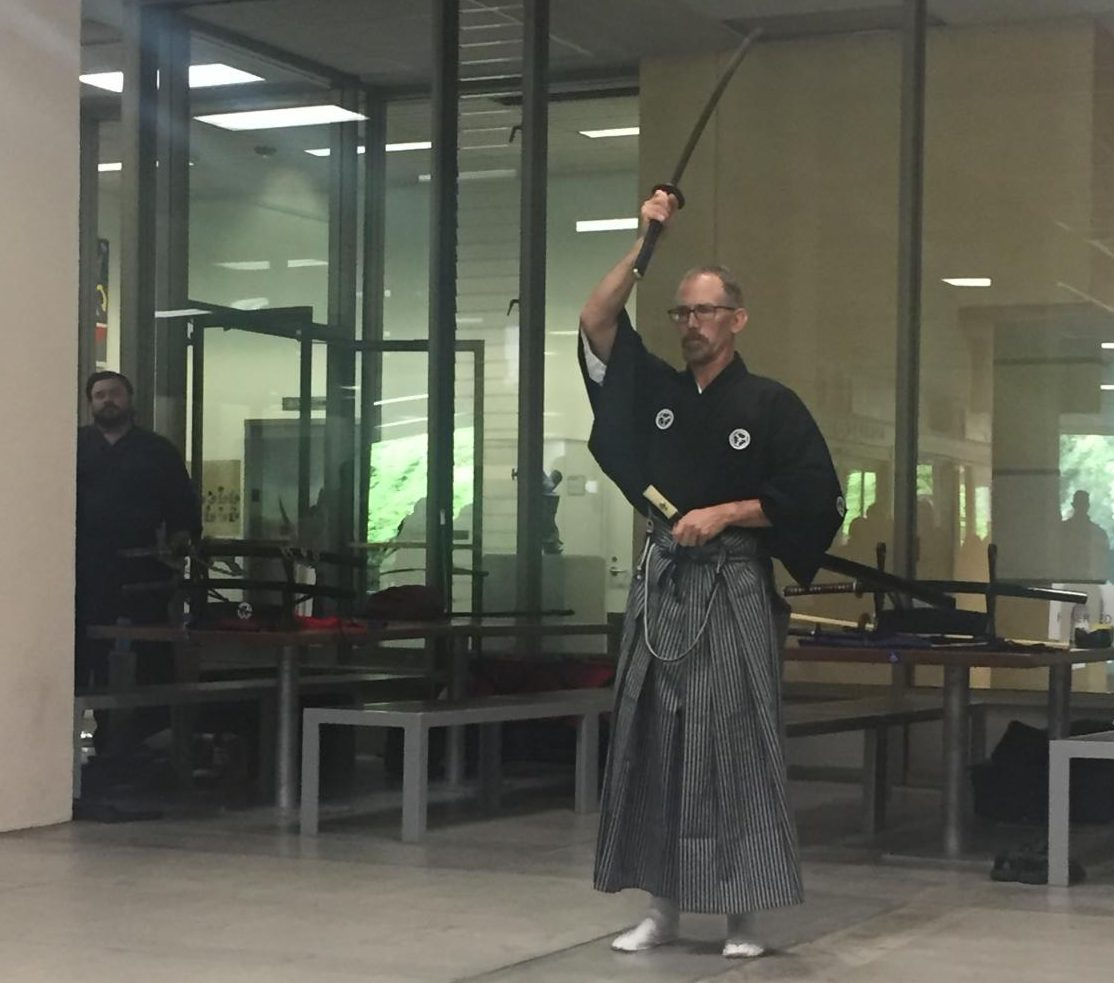 Sacramento State English professor Josh McKinney demonstrates traditional Japanese sword drills during an unveiling ceremony Saturday, April 7, 2018.The swords belong to the Japanese-American Archival Collection's special collections. The collection includes swords going back as far as 1648.