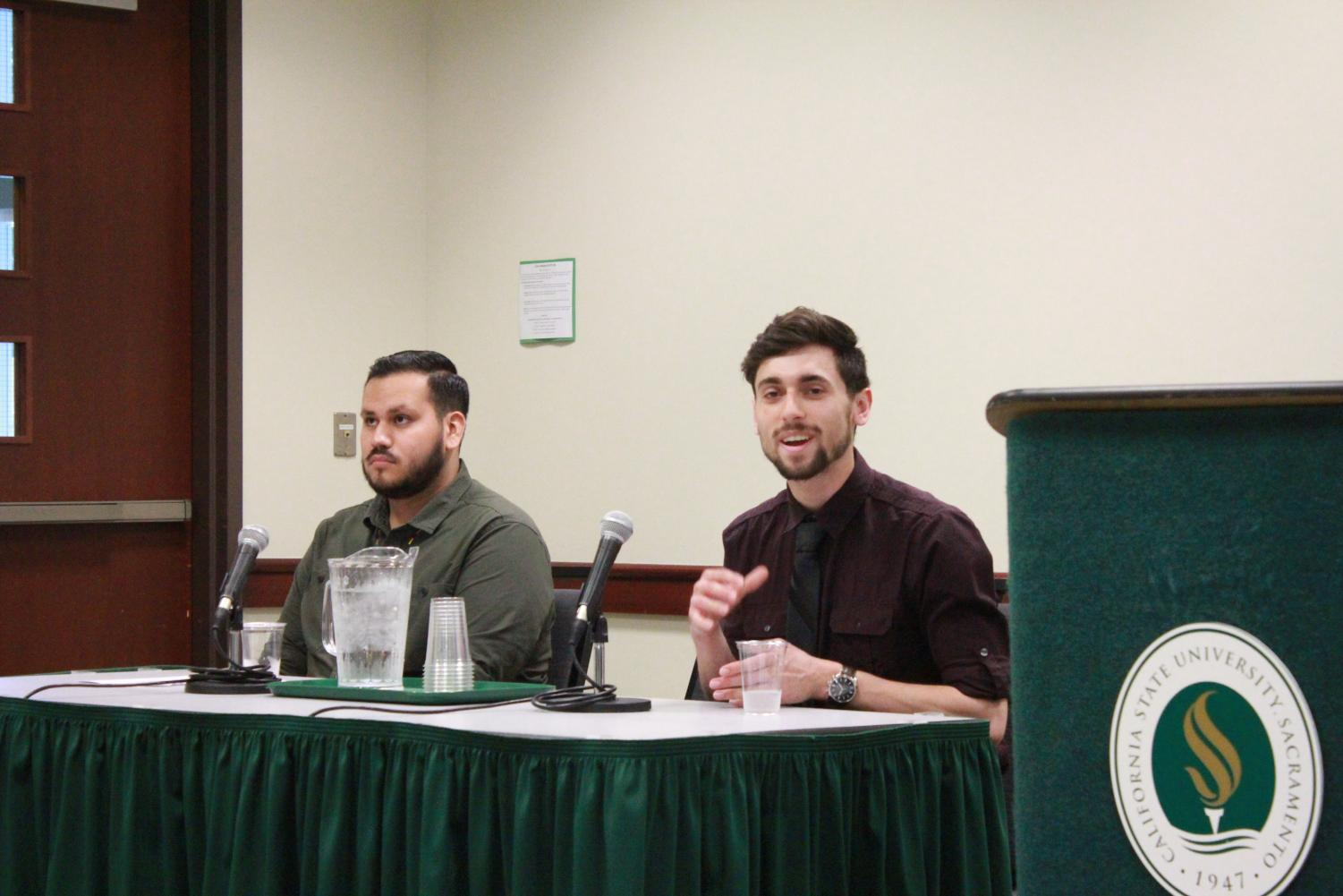 Tony Humphreys, right, and Jose Arias-Ruiz speak at an Associated Students, Inc. election candidates forum on Monday, April 2 in the University Union. Humphreys and Arias-Ruiz are running against each other to be vice president of academic affairs.