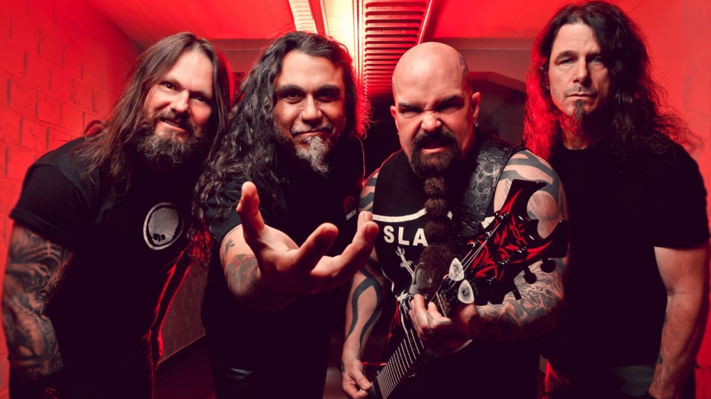 From left, Slayer's current lineup —  Gary Holt, Tom Araya, Kerry King and Paul Bostaph. The band's farewell show in Sacramento is on May 13 at Papa Murphy's Park at Cal Expo.