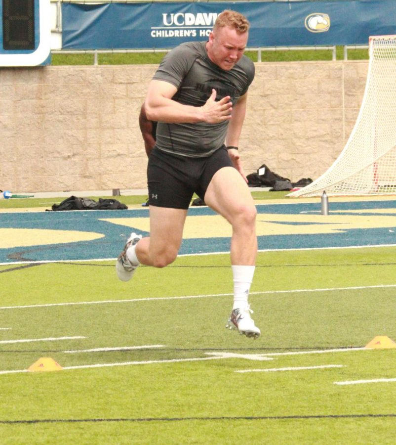 Sacramento State senior defensive lineman Ben Sorensen completes his 40-yard dash during his Pro Day at UC Davis on Wednesday, April 4, 2018. Sorensen was one of six Sac State players that participated in the Pro Day in front of scouts from NFL teams such as the Oakland Raiders and San Francisco 49ers.