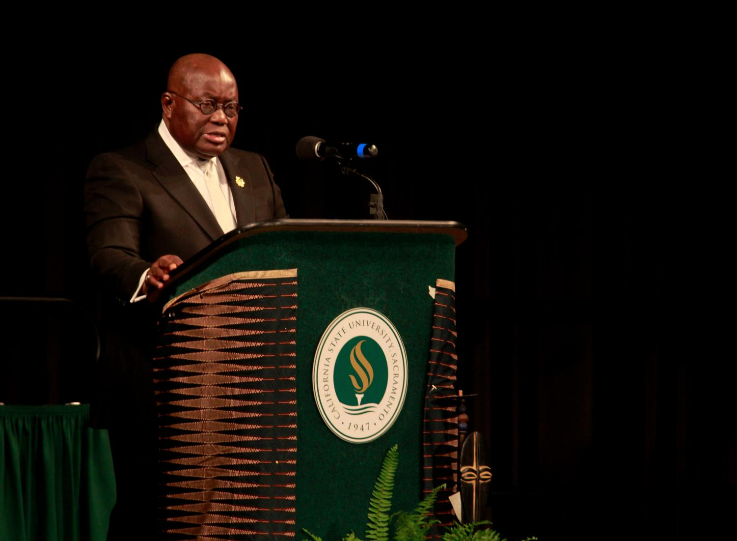 Republic of Ghana president Nana Akufo-Addo delivers his keynote speech following his acceptance of the African Peace Leadership Award in the University Union Ballroom on Saturday, April 28, 2018.
