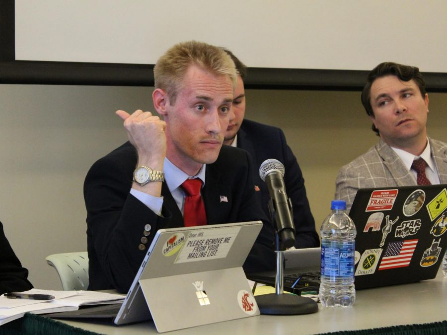 President of the Hornet Republicans Kyle Shallcross, left, participates in the Great Debate with fellow club member Dean Talley, right, in the Terrace Suite of The WELL on April 17, 2018. The Hornet Republicans have participated in two Great Debates this academic year while the College Republicans have participated in none.