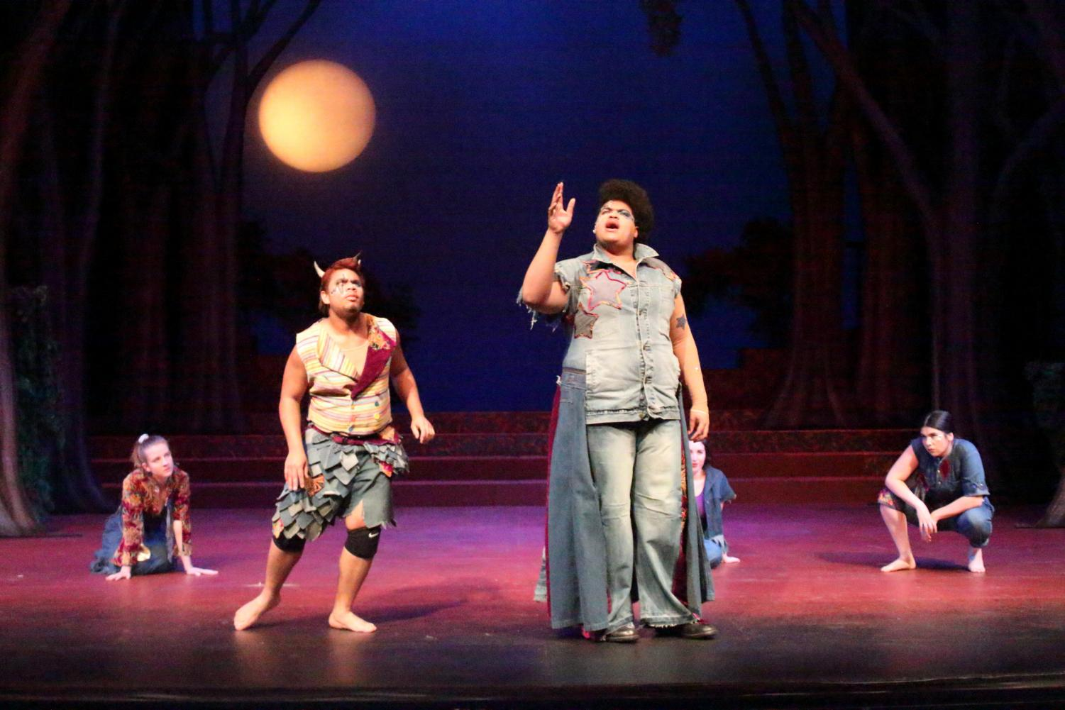 Miles Meckling and William Schmidt take the stage during the Sacramento State Department of Theater and Dance's production of A Midsummer Night's Dream on April 11, 2018 in Shasta Hall.