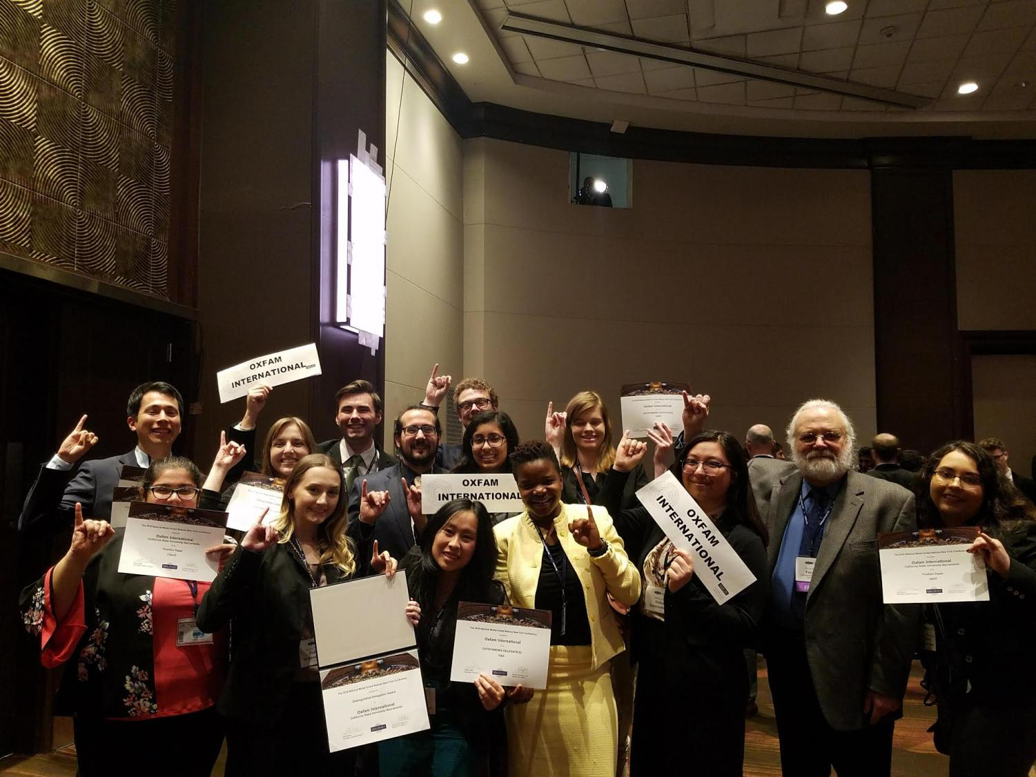 Sacramento State students represented the non-governmental organization Oxfam International at the National Model United Nations conference in New York in March. The students won nine awards during the conference, which lasted from March 18-March 22.