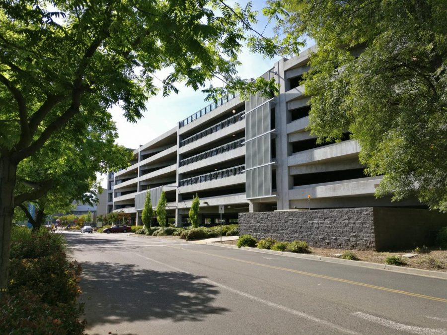 Front view of Parking Structure III. The Structure has come out on top in the 2018 Best of Sac State poll.