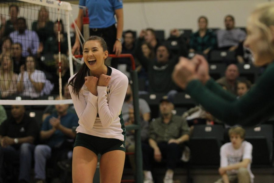 """Sacramento State sophomore outside hitter Sarah Davis celebrates a kill during the 2017 Big Sky Conference tournament. The Hornets won the Big Sky regular season and were voted as the best team in The State Hornet's """"Best of Sac State"""" category."""