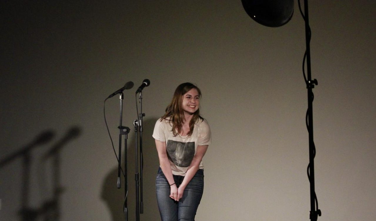 "Lauren Thompson, a deaf studies student at Sacramento State, tells the romantic meeting of an old friend at Capital Storytelling, an event co-sponsored by Sac State and The Verge Center for the Arts, on Thursday, April 26, 2018. ""Storytelling is just a great part of society that's happened for thousands of years, that's carried on in a modern day context,"" Thompson said in an interview."