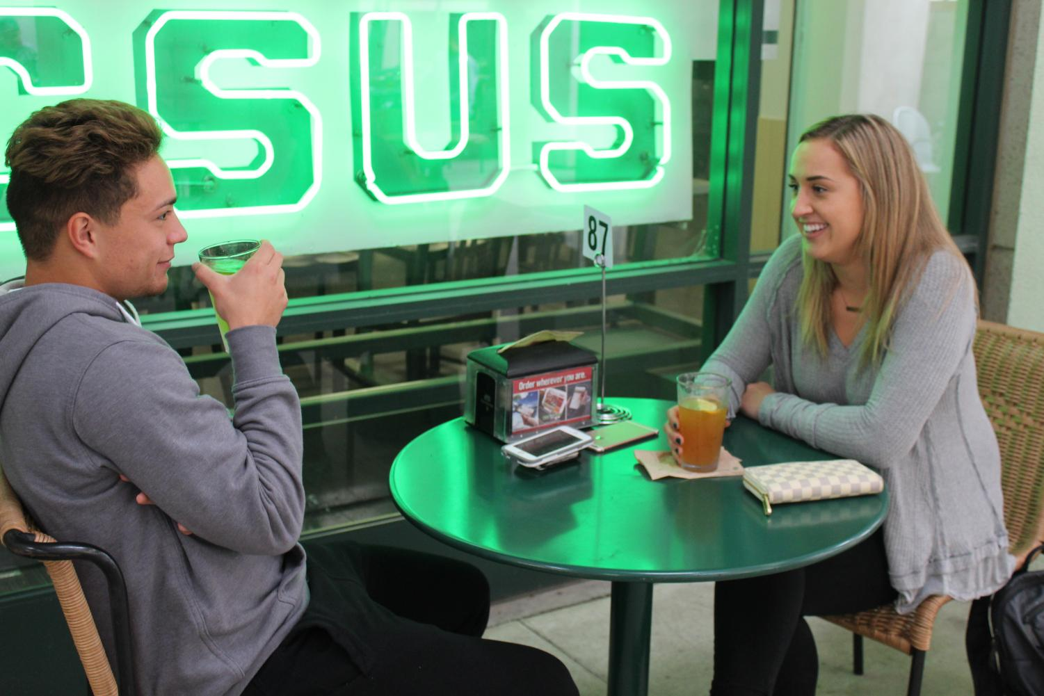 Sacramento State students enjoy some brews outside Round Table Pizza at the University Union. Round Table has been selected as the best place to get beer on campus in The State Hornet's Best of Sac State poll.
