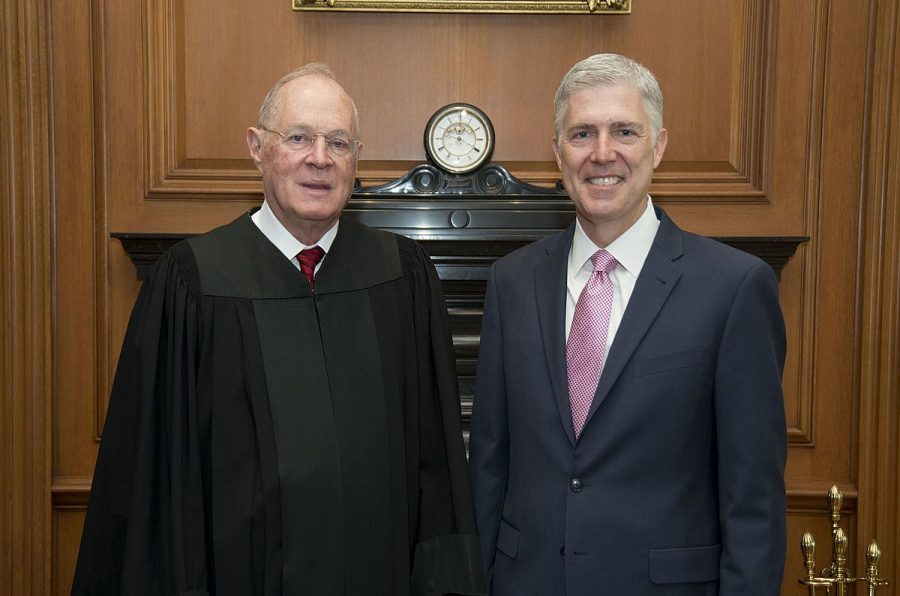 Supreme+Court+Justices+Anthony+Kennedy+and+Neil+Gorsuch+on+April+10%2C+2017+following+Kennedy%27s+swearing+in+of+Gorsuch+as+a+Supreme+Court+Judge.+Kennedy+announced+that+he+is+planning+to+retire+Wednesday+morning.