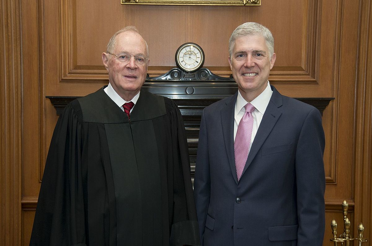 Supreme Court Justices Anthony Kennedy and Neil Gorsuch on April 10, 2017 following Kennedy's swearing in of Gorsuch as a Supreme Court Judge. Kennedy announced that he is planning to retire Wednesday morning.