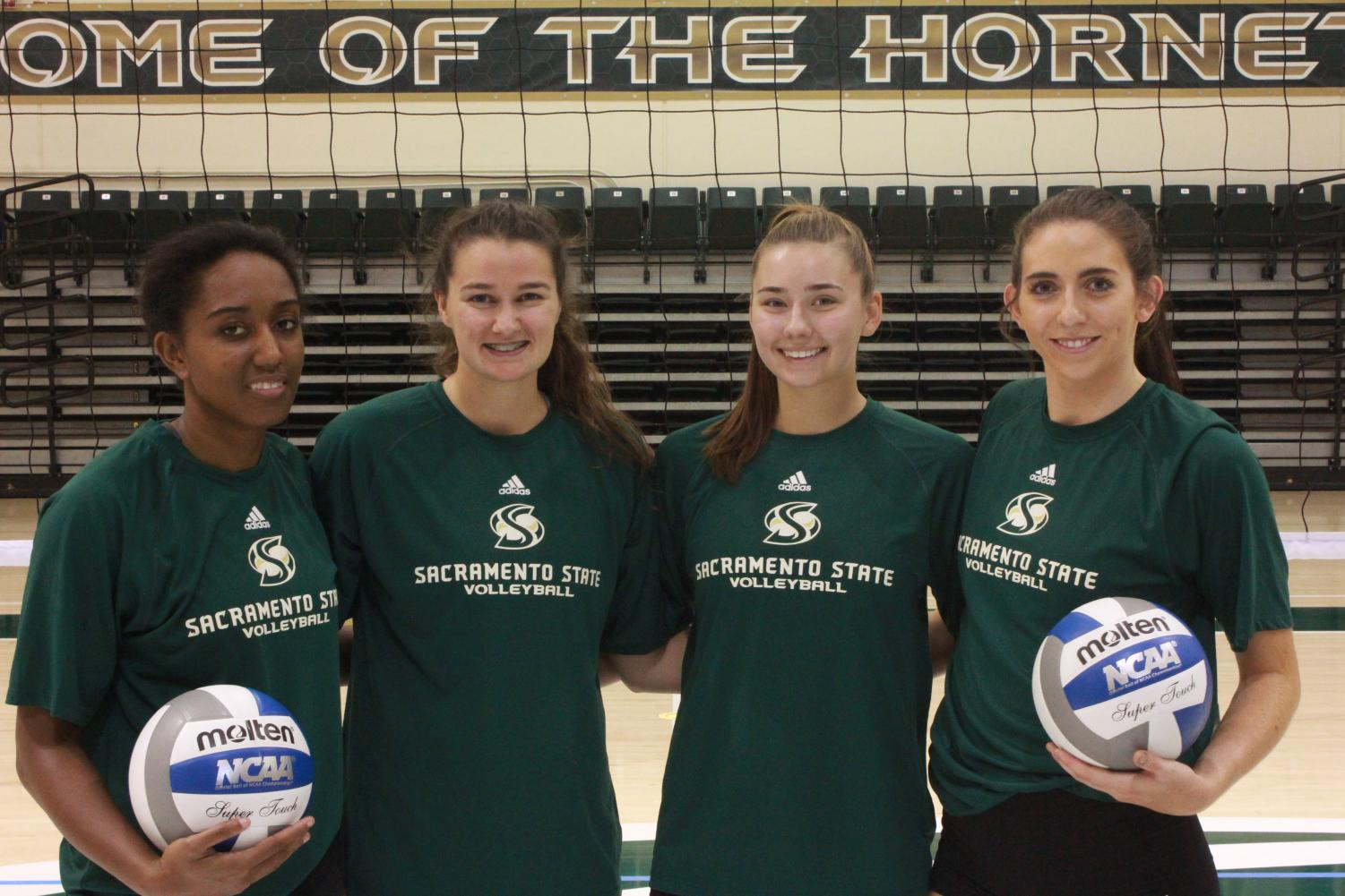 Sacramento State returns (from left to right) Brie Gathright, Mikaela Nocetti Nocetti, Sarah Davis and Lana Brown from a its Big Sky regular season championship team a season ago. The Hornets begin the season August 24 against Utah State.