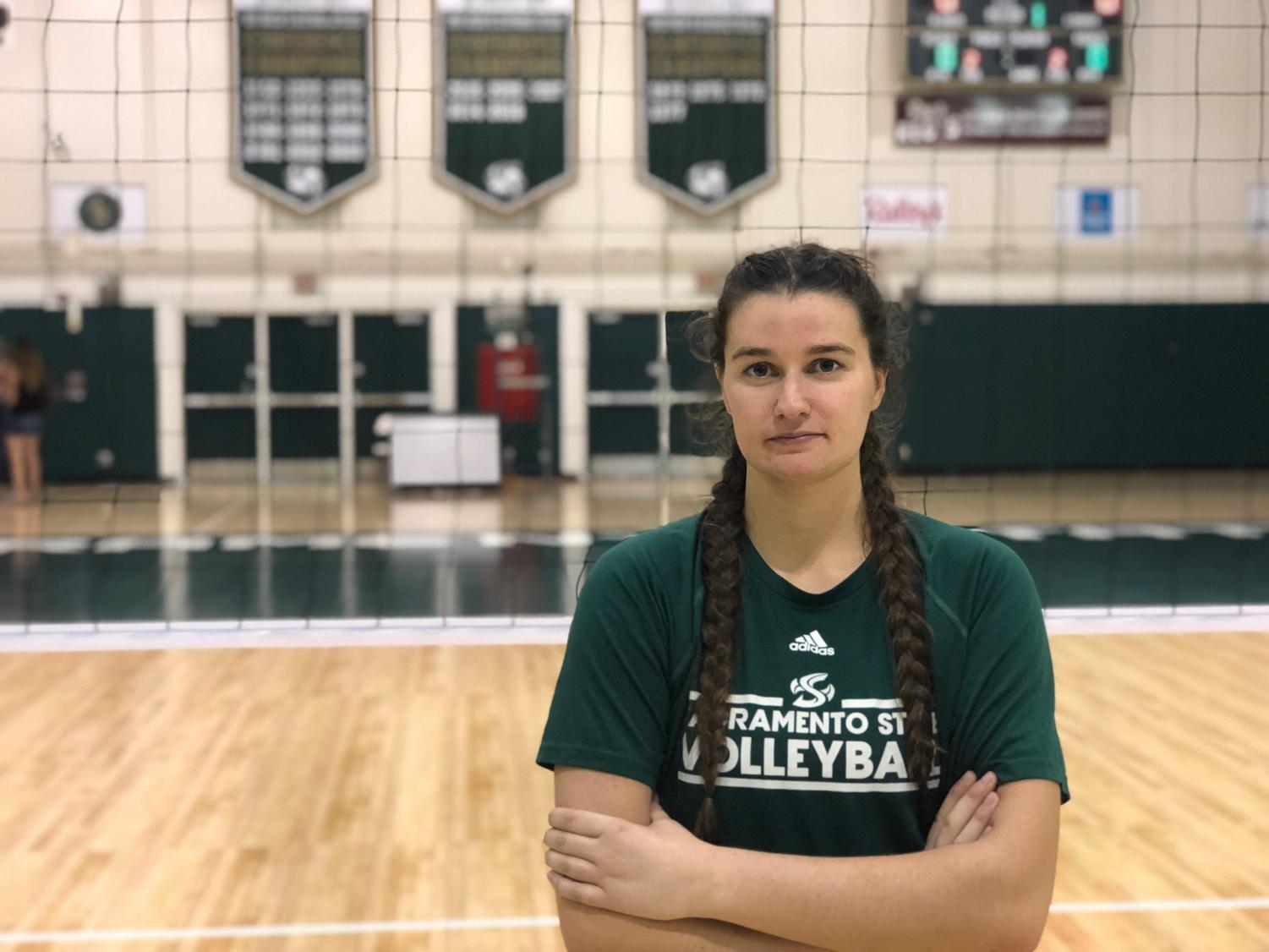 Senior outside hitter Mikaela Nocetti during the Hornet Invitational on Saturday at Colberg Court. Nocetti led the Hornets in kills a season ago as a junior.
