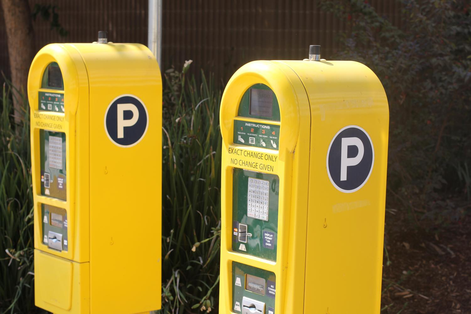 Parking pass machines at Parking Structure 5. Daily passes were raised to $7 for the fall semester.
