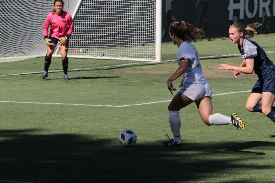 Sacramento State Hornets midfielder Caitlin Prothe makes a drive towards the goal to try to score a goal. The Hornets were able to win their first match against Nevada 3-2 on Sept. 7 at Hornet Field.