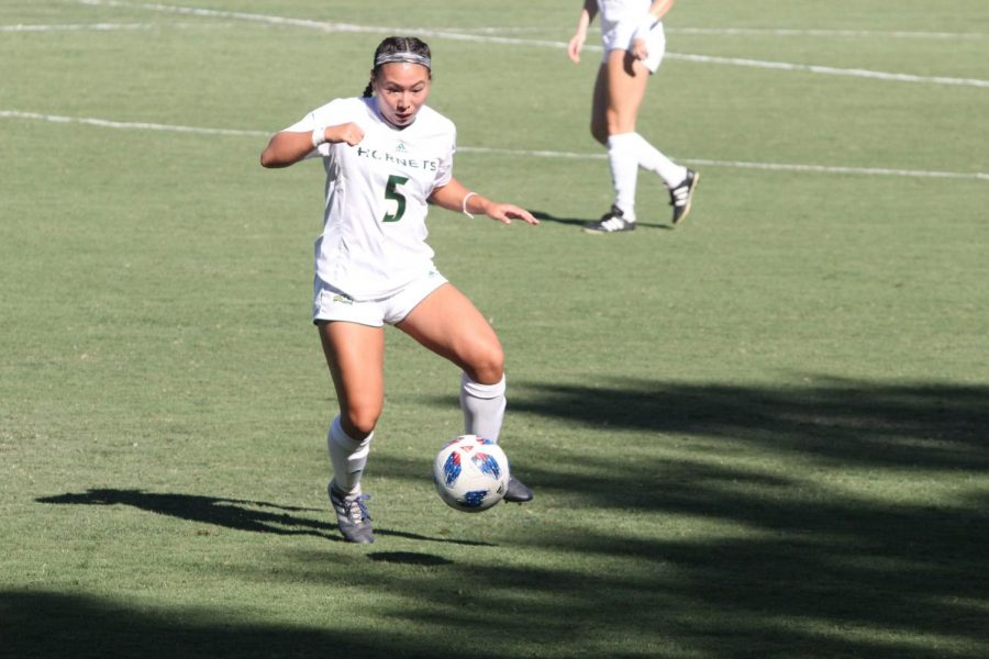 Sacramento+State+Hornets+forward+Kylee+Kim-Bustillos+looks+to+get+possession+of+the+ball.+The+Hornets+was+able+to+win+their+first+match+against+Nevada+3-2+on+Sept.+7+at+the+Hornet+Field.