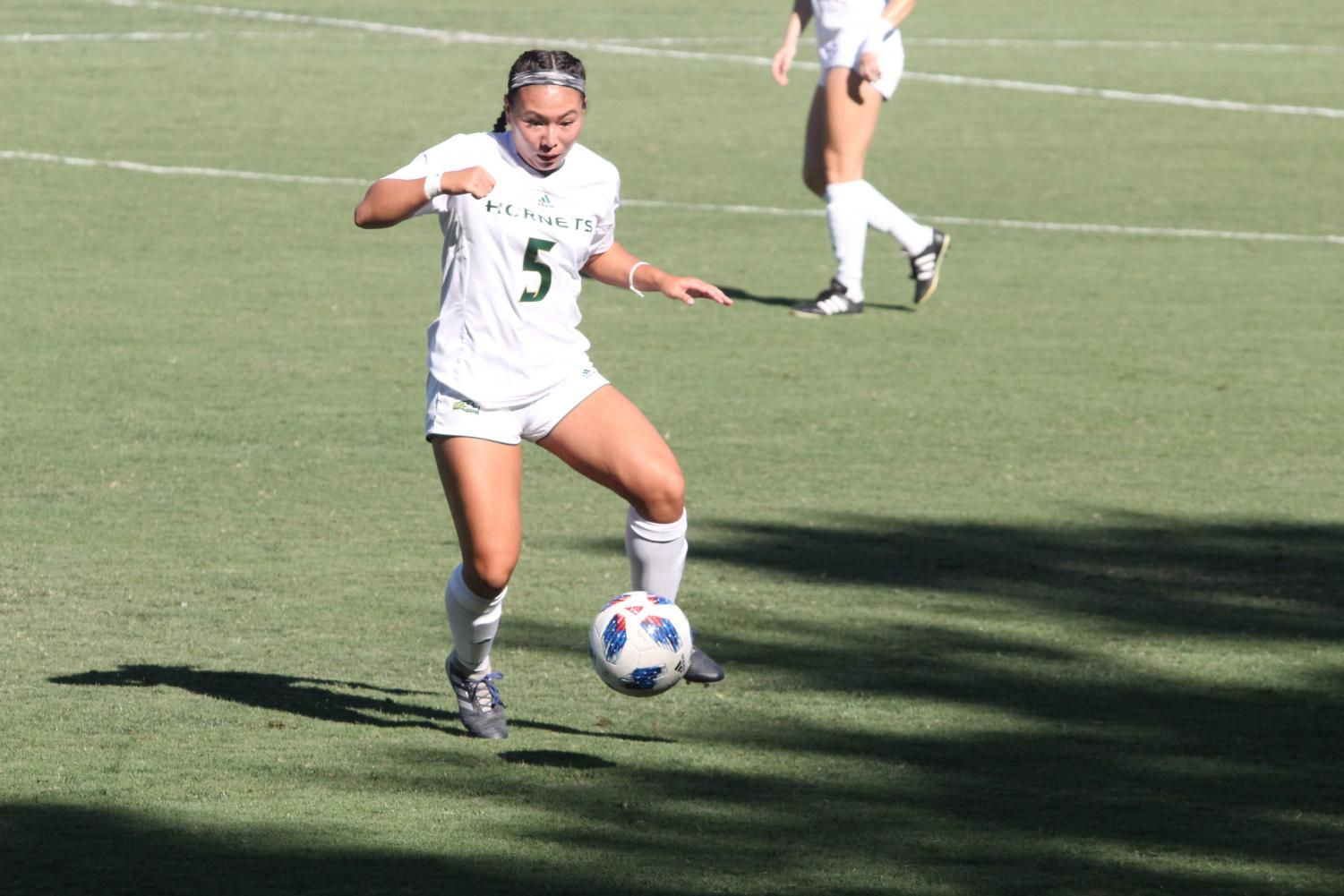 Sacramento State Hornets forward Kylee Kim-Bustillos looks to get possession of the ball. The Hornets was able to win their first match against Nevada 3-2 on Sept. 7 at the Hornet Field.