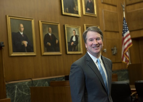 Supreme Court nominee Brett Kavanaugh's photo used on his biography page for the U.S. Court of Appeals for the District of Columbia Circuit. Kavanaugh is facing growing accusations of sexual assault and harassment.