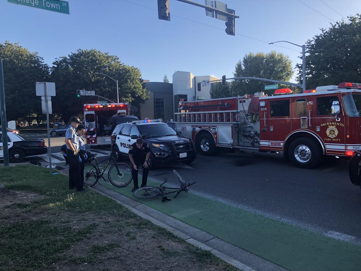 A male cyclist was hit by a car on the corner of College Town Drive and State University Drive on Sept. 11, around 6 p.m.