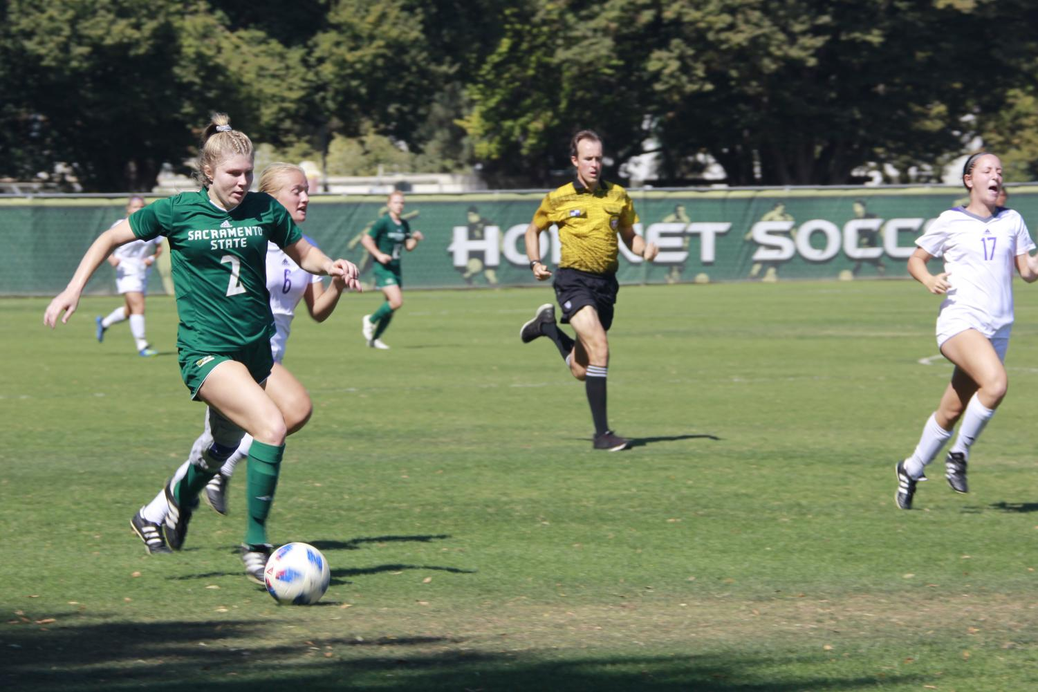 Sac State sophomore midfielder Skylar Littlefield dribbles up the field in a 1-0 loss to Weber State on Sunday at Hornet Field.