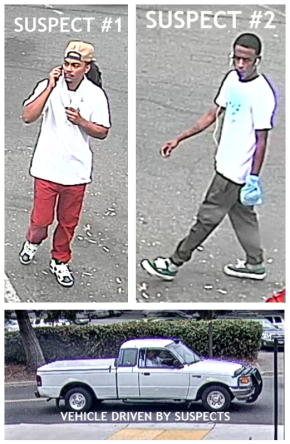 Two suspects in a series of smash and grab thefts on Wednesday, Sept. 12, and their vehicle as captured by campus security cameras. The suspect in red was arrested by police early Monday while driving the pickup truck.