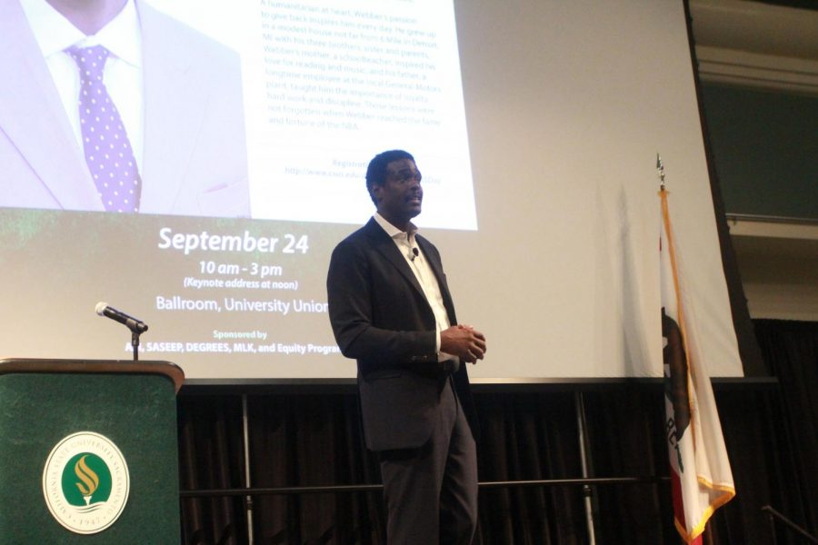 Basketball+legend+Chris+Webber+gives+his+keynote+speech+on+Student+Academic+Success+Day+on+Sept.+24+in+the+University+Union+Ballroom+at+Sac+State.