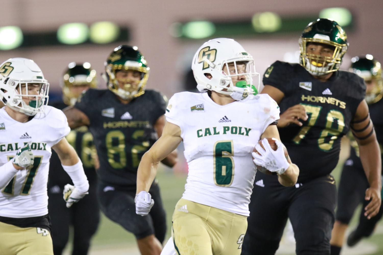 Cal Poly junior J.J. Koski returned a punt for a touchdown in the second quarter to give the Mustangs a 21-14 lead on Saturday at Hornet Stadium. The Mustangs defeated Sac State 41-27.