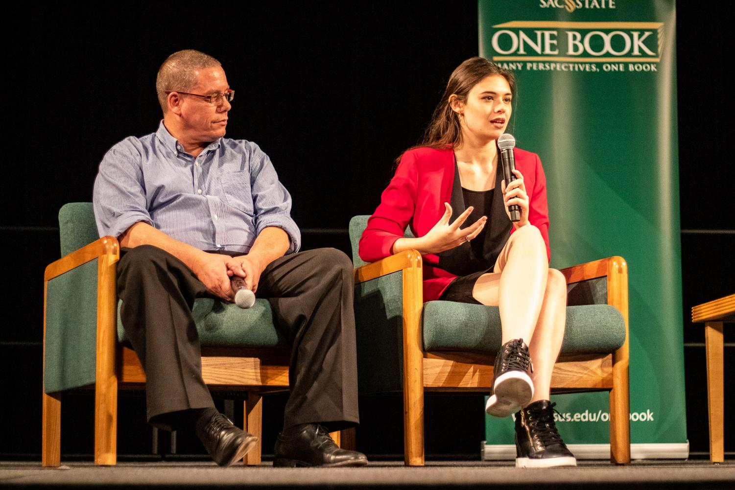 Wayne (Left) and Nicole Maines (right) speaking at the One Book Day event in the University Union Ballroom on Thursday night at Sac State. The book