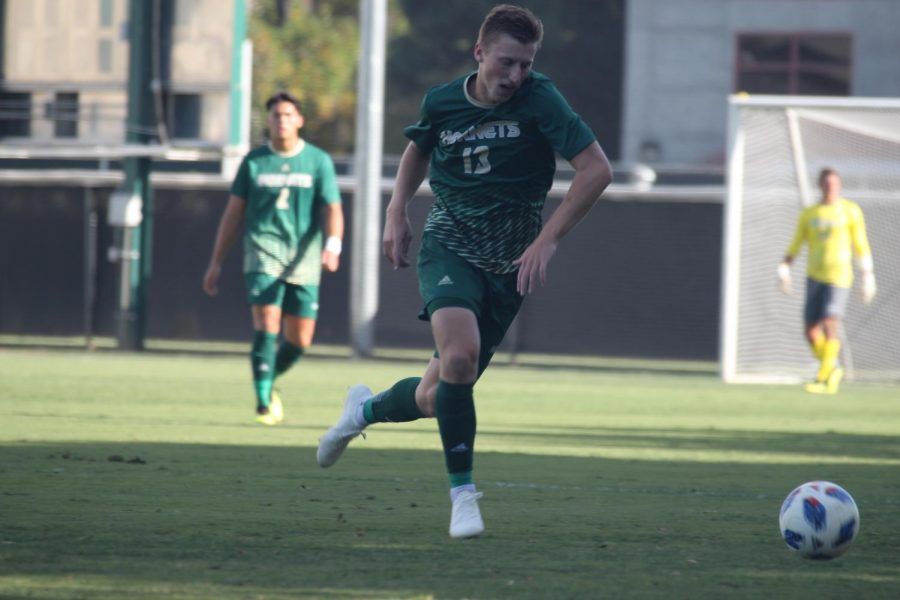 Sacramento State Hornets junior midfielder Matt Carnefix tries to get possession of the ball. The Hornets defeated California State University, Northridge 2-1 at Hornet Field on Oct. 10.