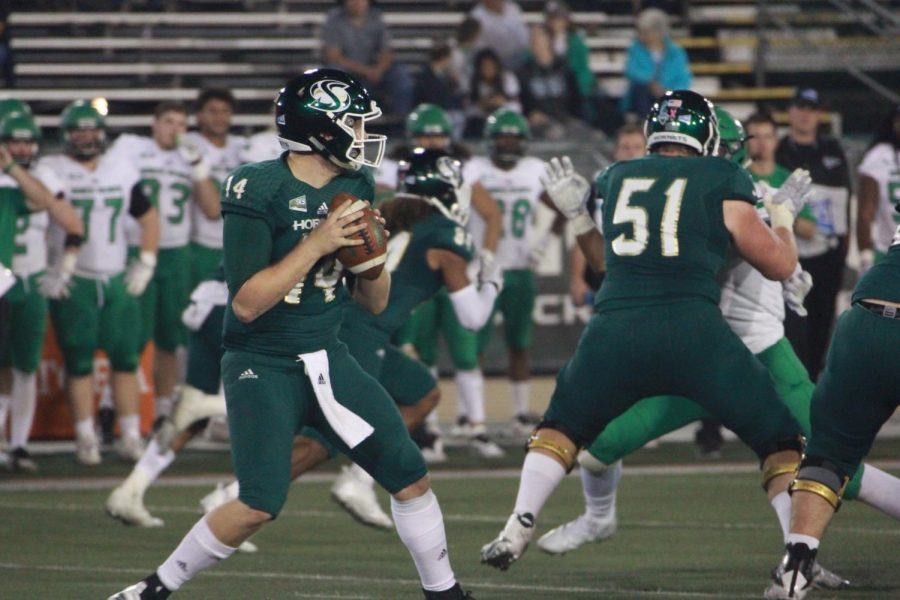Sac+State+senior+quarterback+Wyatt+Clapper+threw+for+119+yards+in+his+first+career+start+while+Kevin+Thomson+is+out+with+an+injury.+The+Hornets+fell+to+North+Dakota+41-15+on+Saturday%2C+Oct.+20.