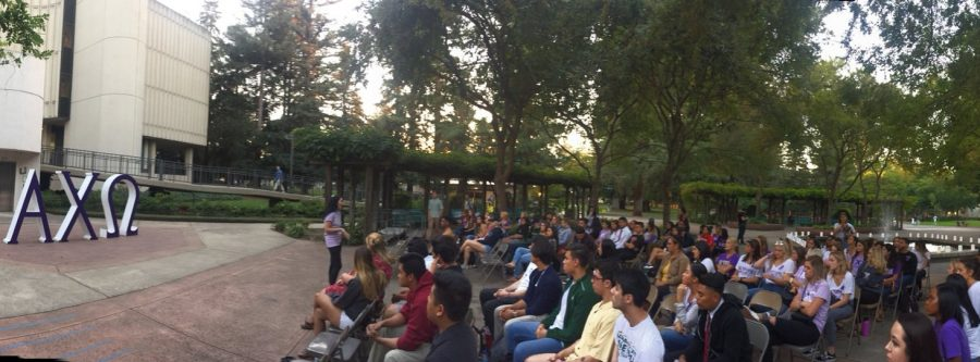 Students gather to hear Sexual abuse survivors stories at Alpha Chi Omega's Luminary Event. Luminary is an outreach and fundraiser for the sorority's philanthropic mission to protect the victims of domestic violence.