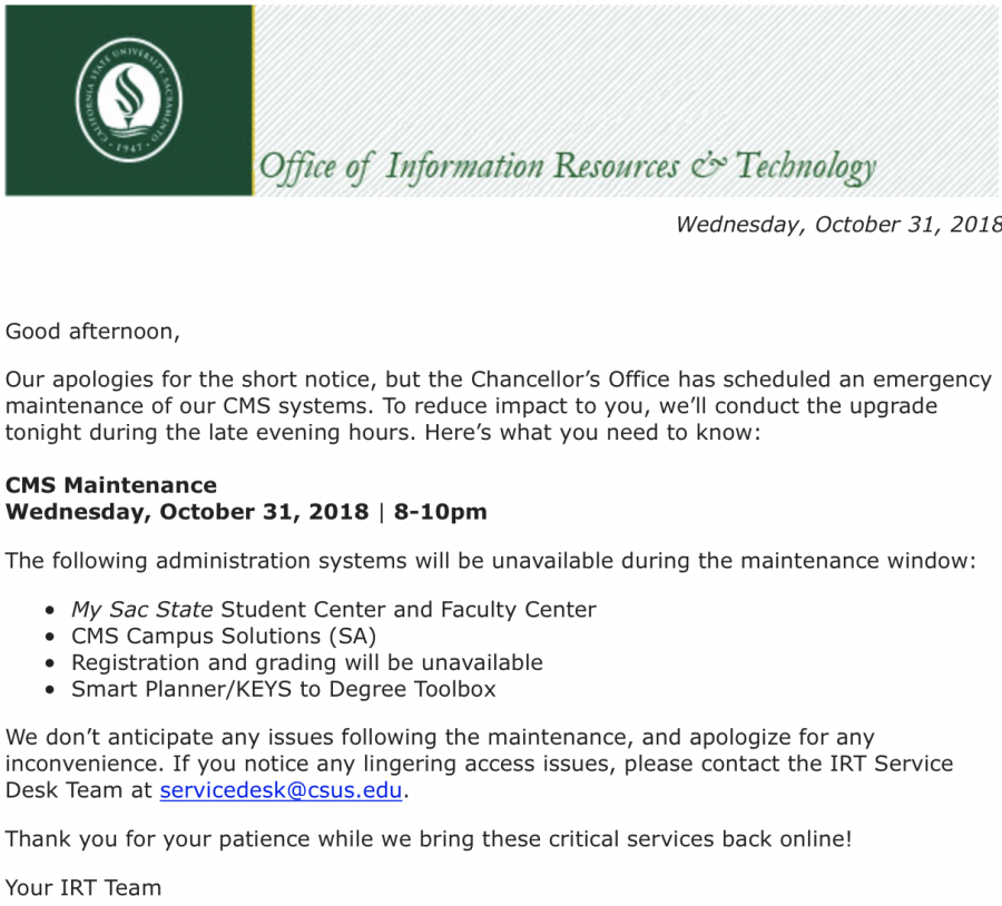 CSU web systems down for emergency maintenance